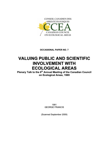 Valuing public and scientific involvement with ecological areas