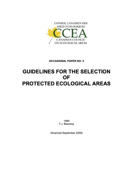 Guidelines for the selection of protected ecological areas